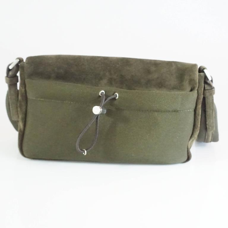 Prada Olive Suede Fall Leaves Shoulder Bag  In Good Condition For Sale In Palm Beach, FL