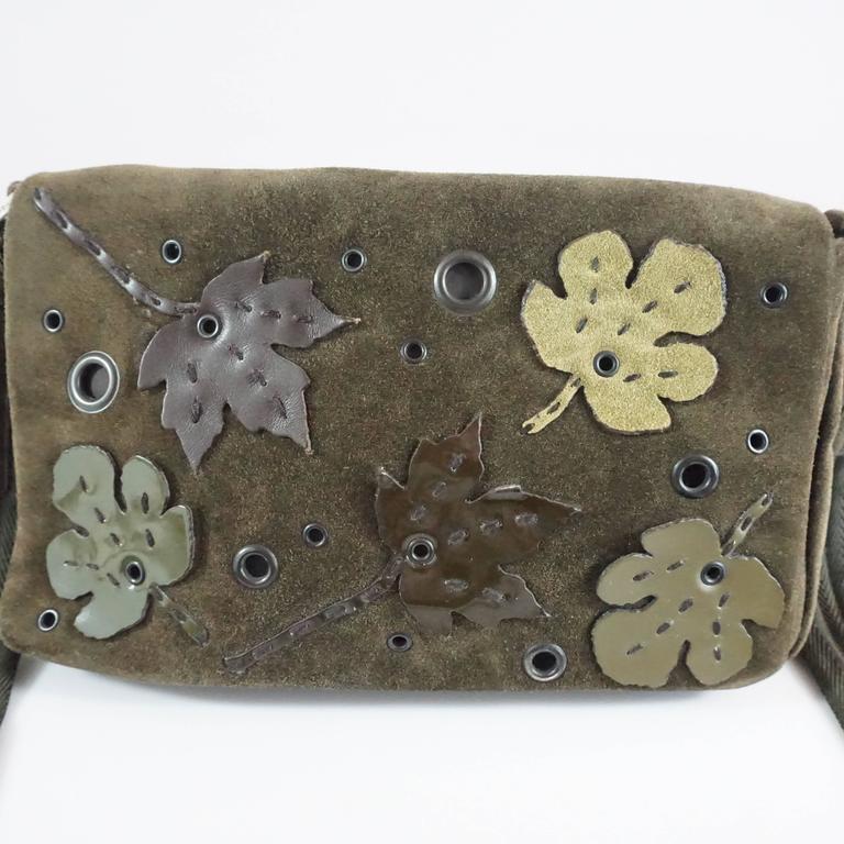 Prada Olive Suede Fall Leaves Shoulder Bag  For Sale 1