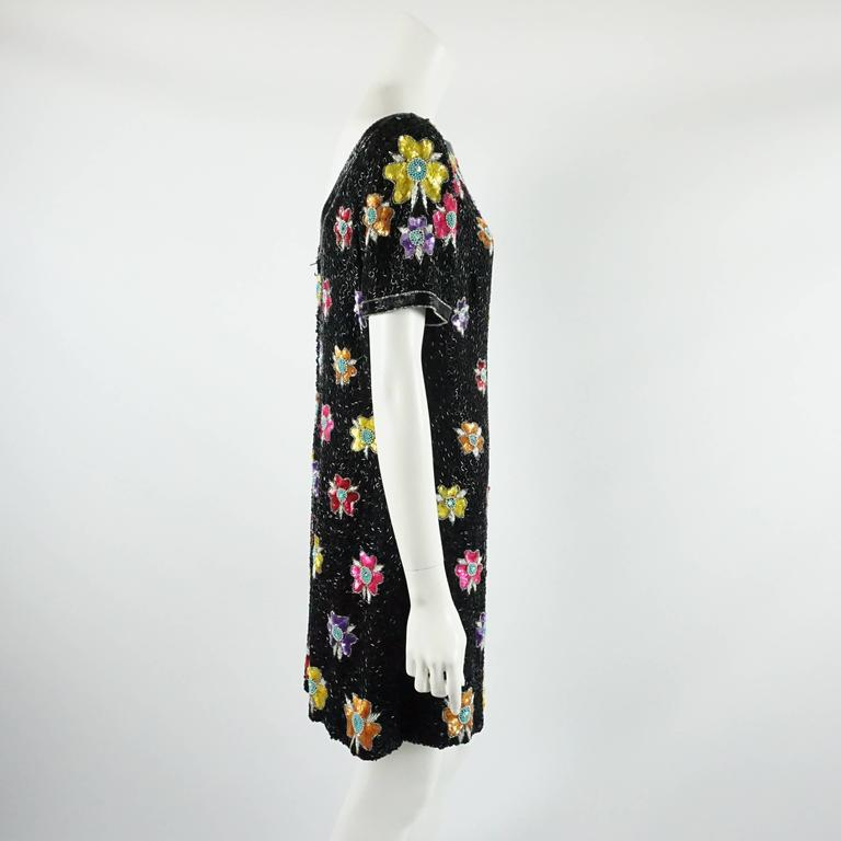 Bob Mackie Black and Multi Floral Beaded Dress - 12 - 1980's  2