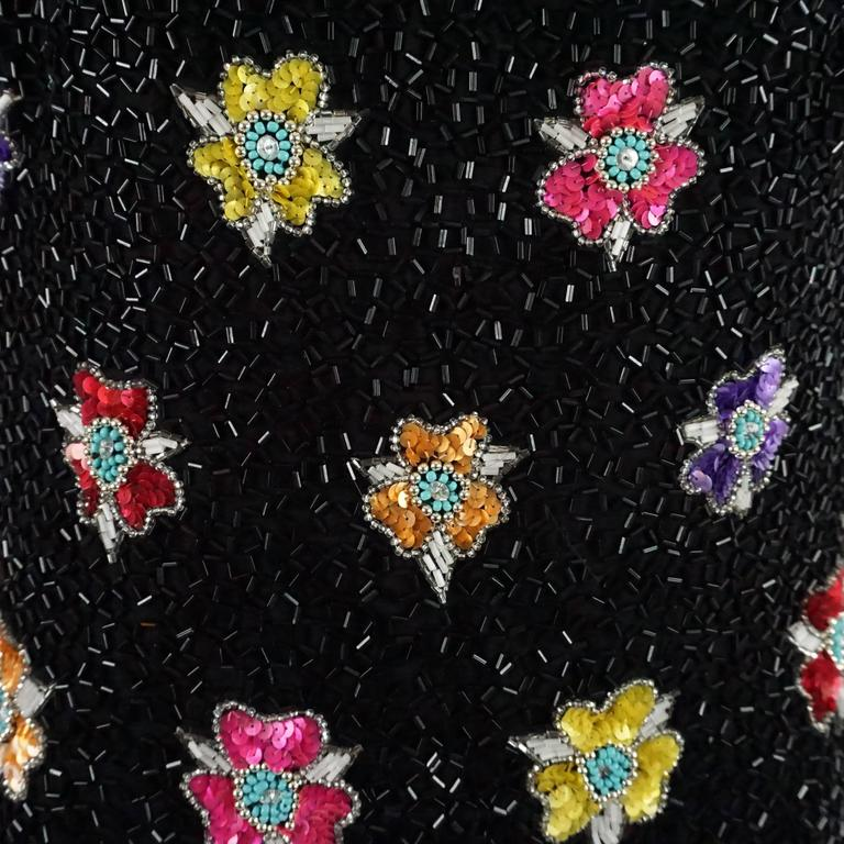 Bob Mackie Black and Multi Floral Beaded Dress - 12 - 1980's  4
