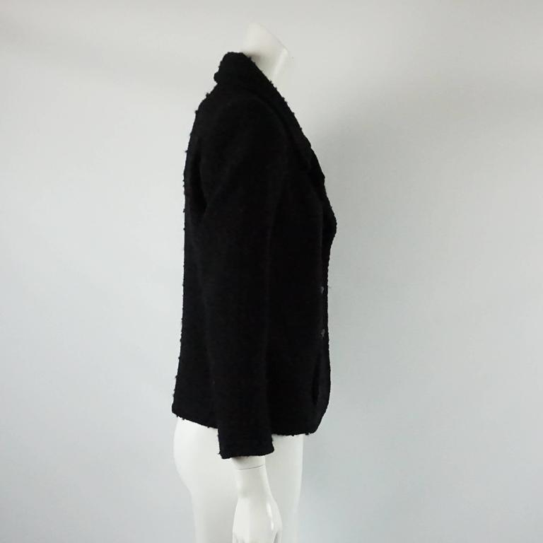 Chanel Black Wool Blend Jacket with Lucite Buttons - 40 2