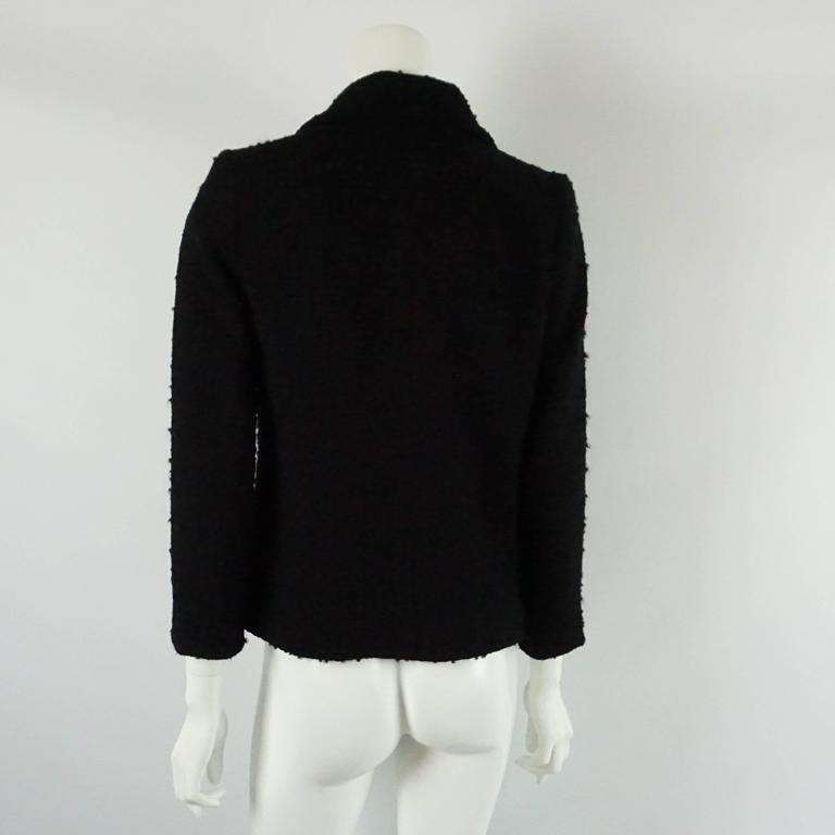Chanel Black Wool Blend Jacket with Lucite Buttons - 40 3