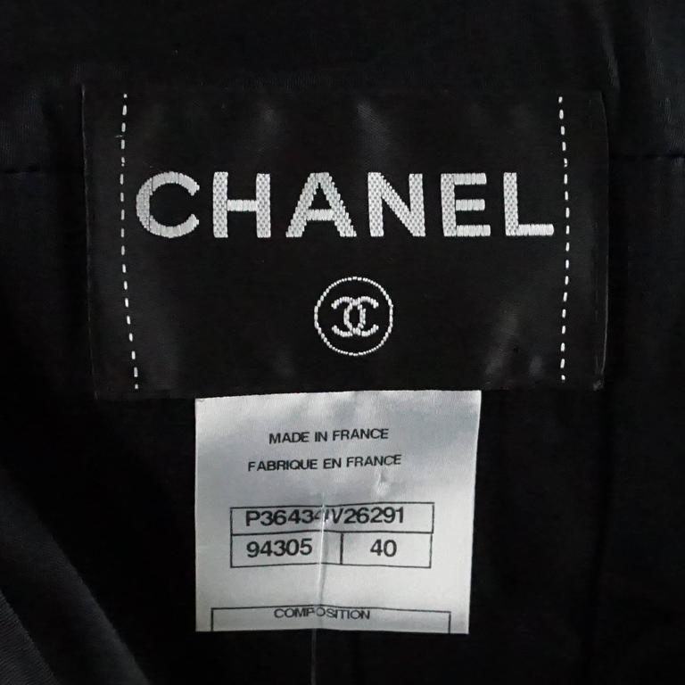 Chanel Black Wool Blend Jacket with Lucite Buttons - 40 5