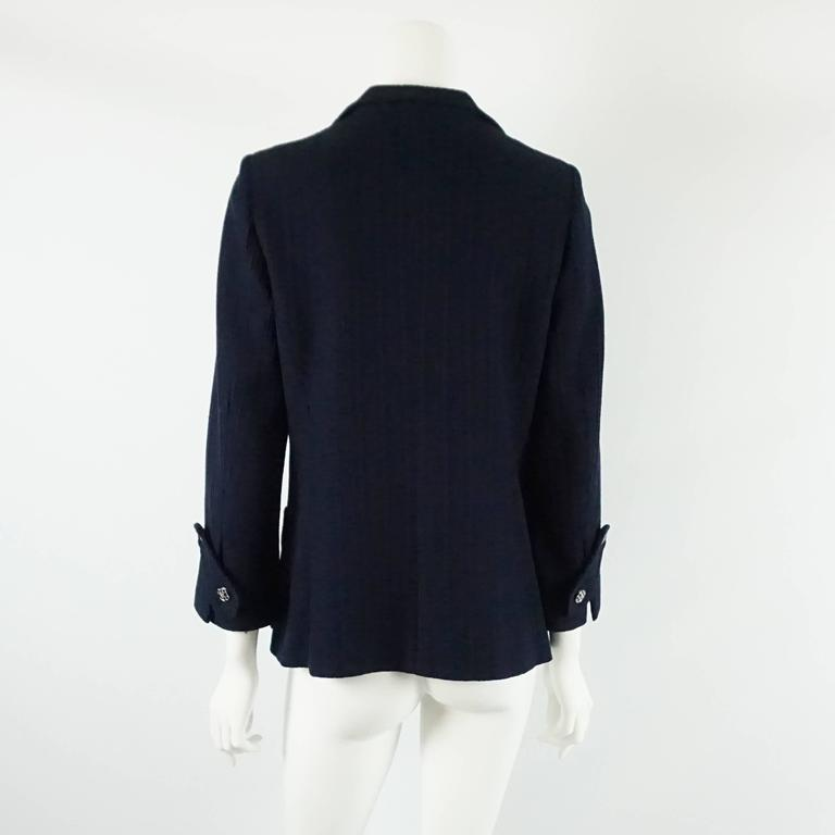 Black Chanel Navy Cotton Jacket with Enamel Buttons - 42 For Sale