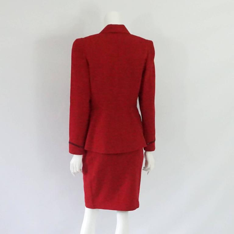 Thierry Mugler Red Wool Skirt Suit with Rhinestone Detail - 42 - Circa 80's In Good Condition For Sale In Palm Beach, FL