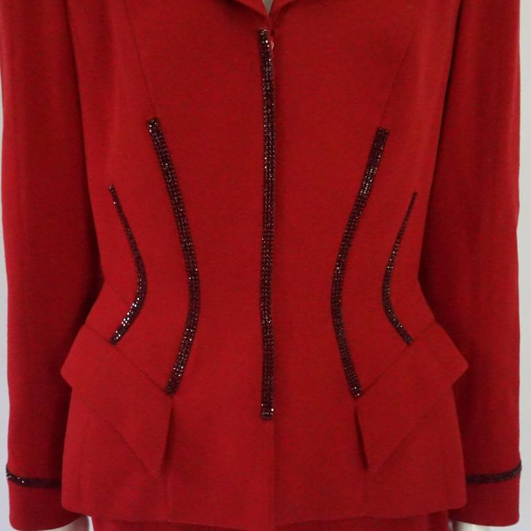 Women's Thierry Mugler Red Wool Skirt Suit with Rhinestone Detail - 42 - Circa 80's For Sale