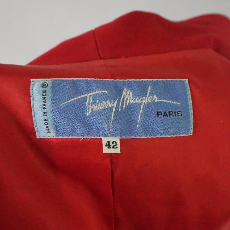 Thierry Mugler Red Wool Skirt Suit with Rhinestone Detail - 42 - Circa 80's For Sale 1