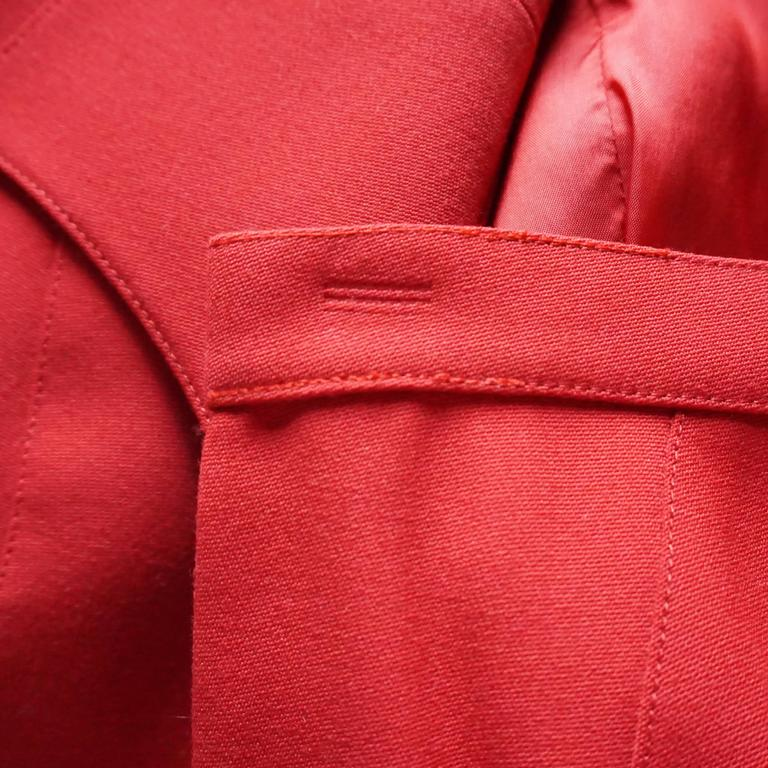 Thierry Mugler Red Wool Skirt Suit with Rhinestone Detail - 42 - Circa 80's For Sale 2