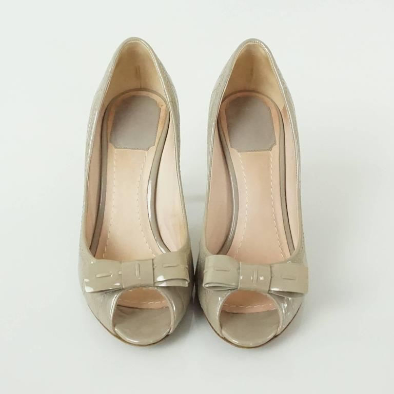 Christian Dior Taupe Patent Leather Peeptoe - 36.5 3