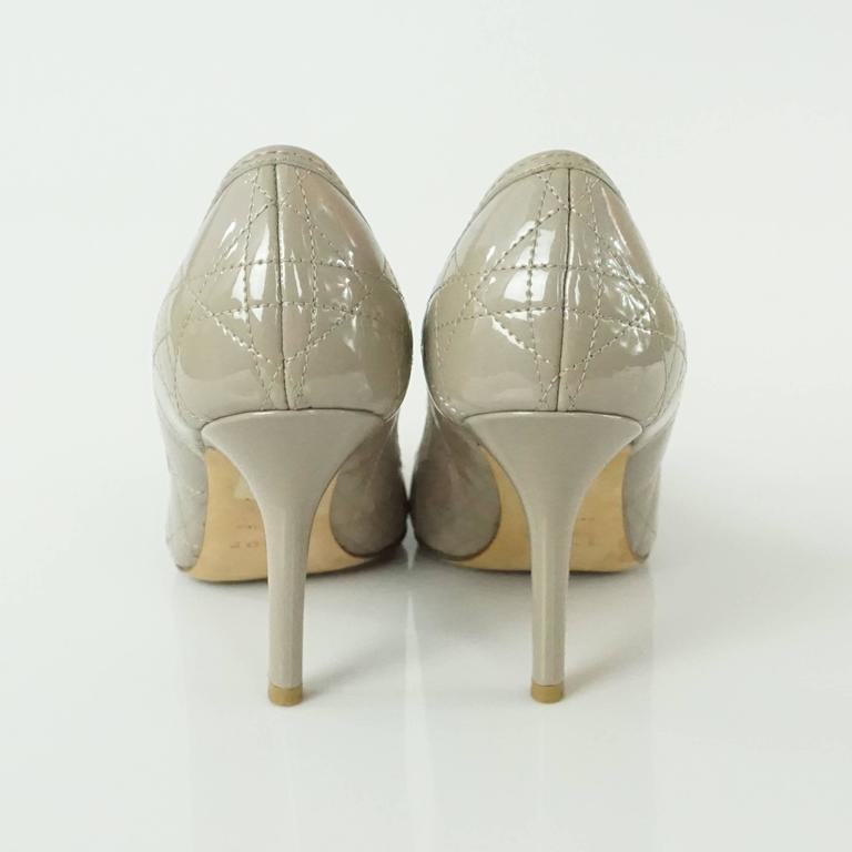 Christian Dior Taupe Patent Leather Peeptoe - 36.5 In Excellent Condition For Sale In Palm Beach, FL