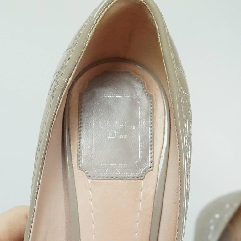 Christian Dior Taupe Patent Leather Peeptoe - 36.5 For Sale 1