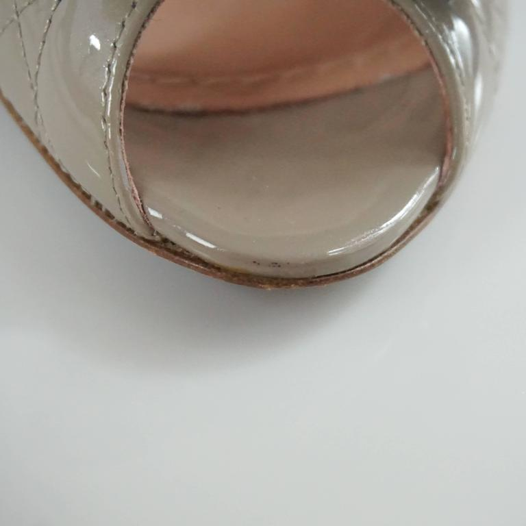 Christian Dior Taupe Patent Leather Peeptoe - 36.5 8
