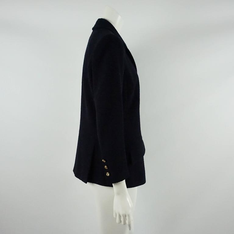 Chanel Navy Wool Blend Jacket - 42  2