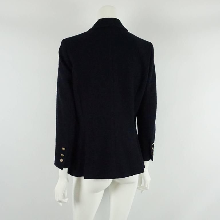 Chanel Navy Wool Blend Jacket - 42  3