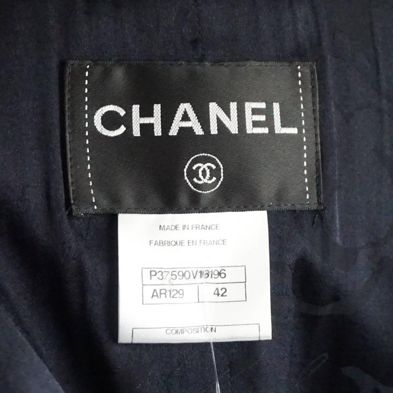 Chanel Navy Wool Blend Jacket - 42  6