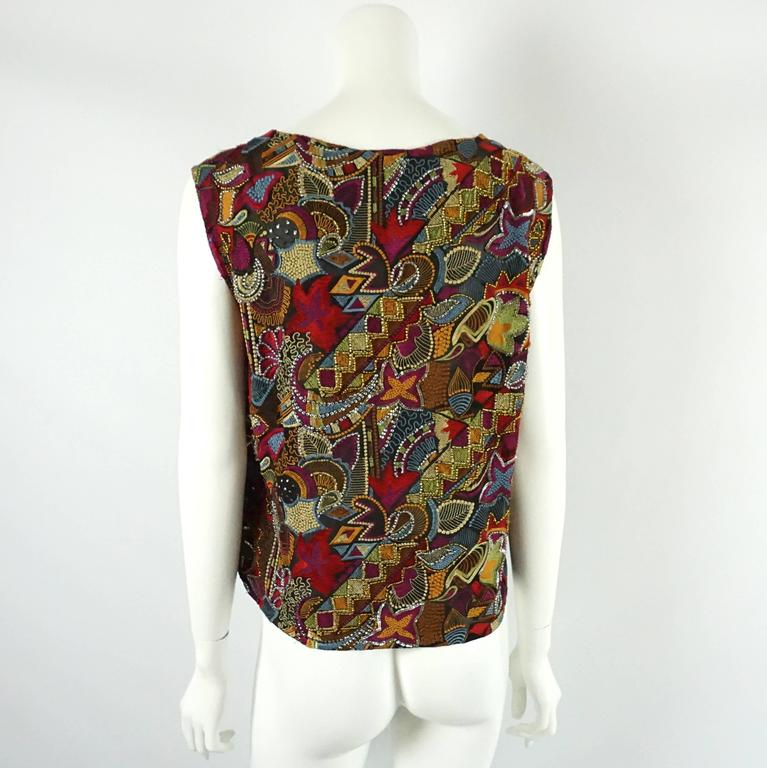 Brown Dries Van Noten Multi Silk Embroidered and Beaded Blouse - 38 For Sale