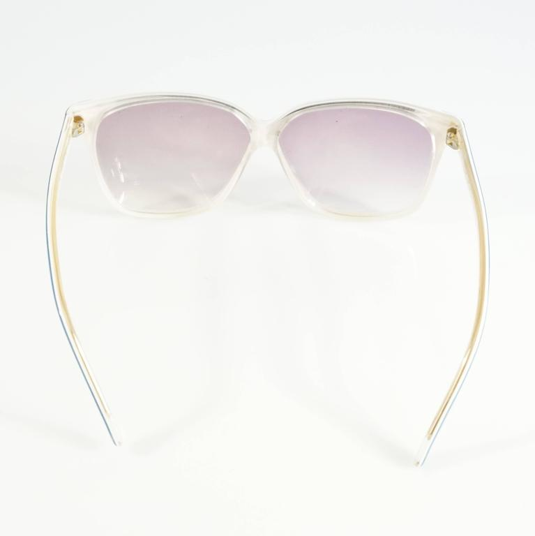Gray Balenciaga Blue and White Square Sunglasses - 1980's For Sale