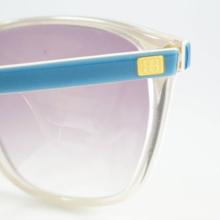 Balenciaga Blue and White Square Sunglasses - 1980's In Excellent Condition For Sale In Palm Beach, FL