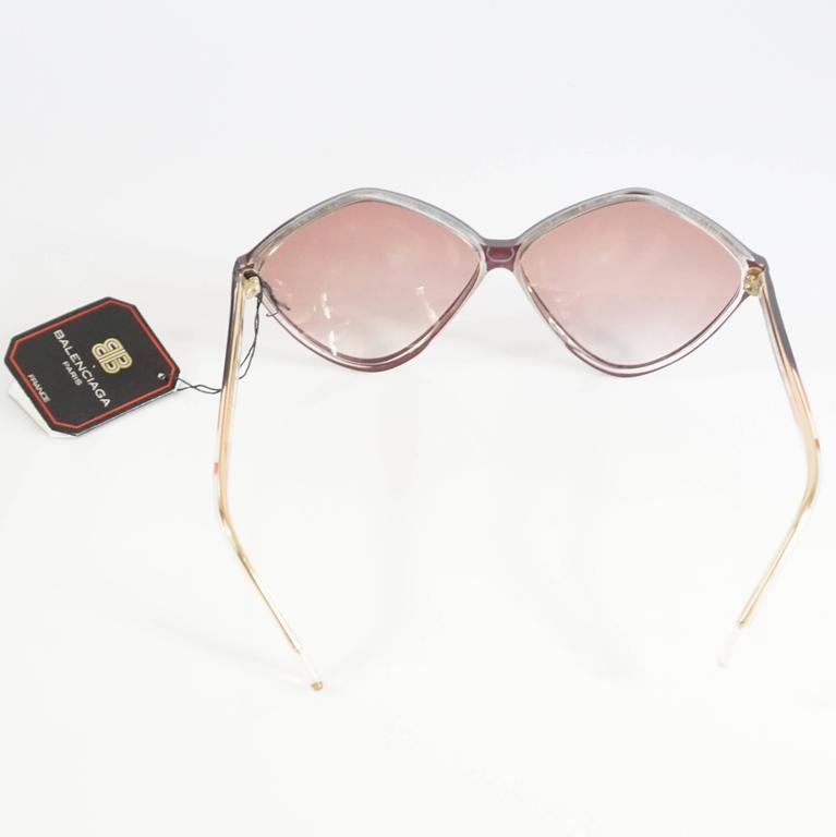 Beige Balenciaga Pink Diamond Shape Lucite Sunglasses - 1970's  For Sale