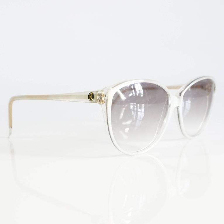 Rochas White Mother of Pearl Cateye Sunglasses - 1970's 2