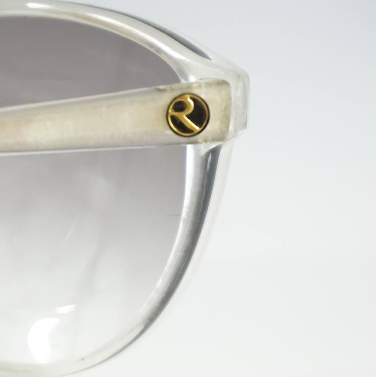 Rochas White Mother of Pearl Cateye Sunglasses - 1970's 5