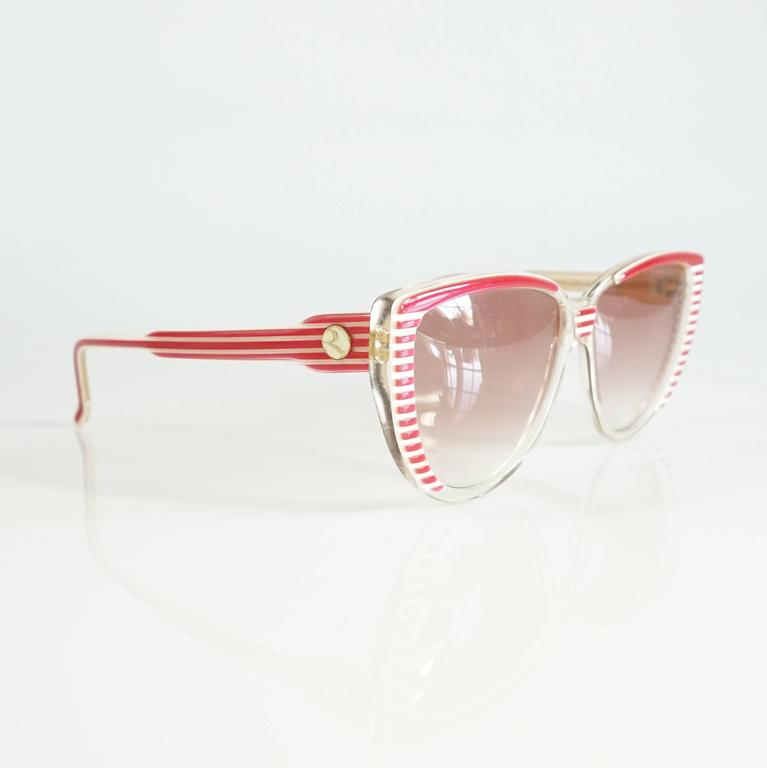 Rochas Red and White Lucite Cateye Sunglasses - 1970's  2