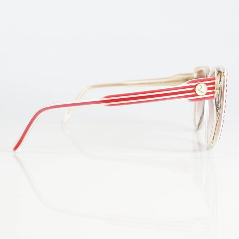 Rochas Red and White Lucite Cateye Sunglasses - 1970's  3