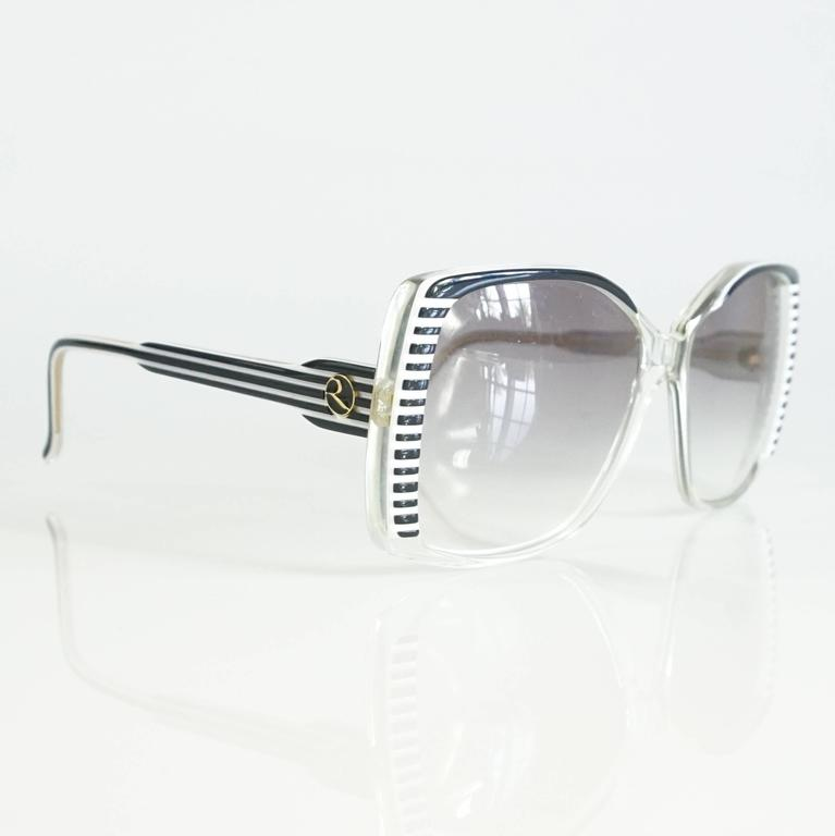 Rochas Black and White Lucite Square Sunglasses - 1970's  2