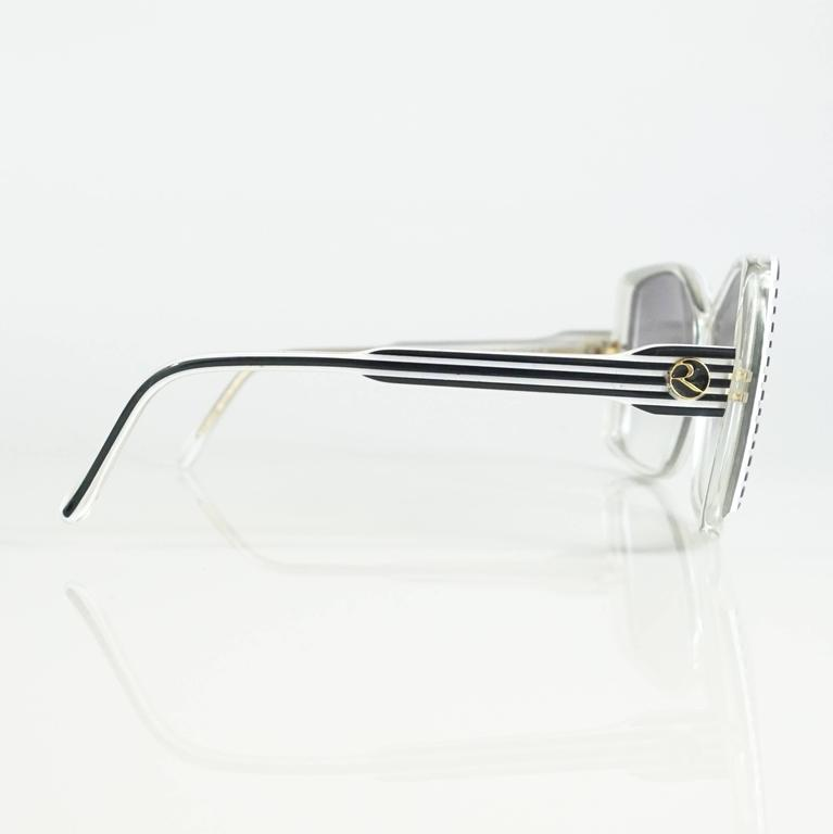 Rochas Black and White Lucite Square Sunglasses - 1970's  3