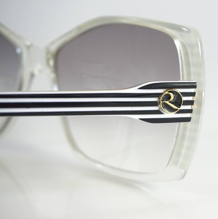 Rochas Black and White Lucite Square Sunglasses - 1970's  5