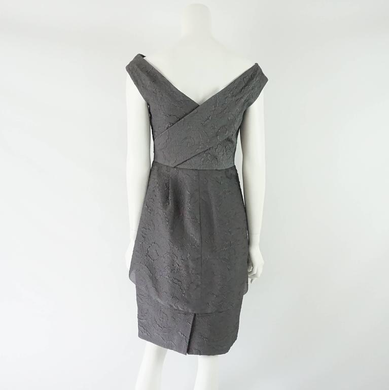 Lela Rose Charcoal Sleeveless Dress with Layered Front - 6 3