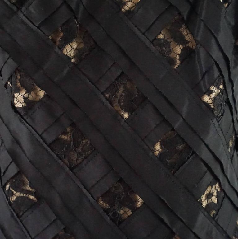 Oscar de la Renta Black and Beige Lace and Taffeta Crisscross Dress - 10 4