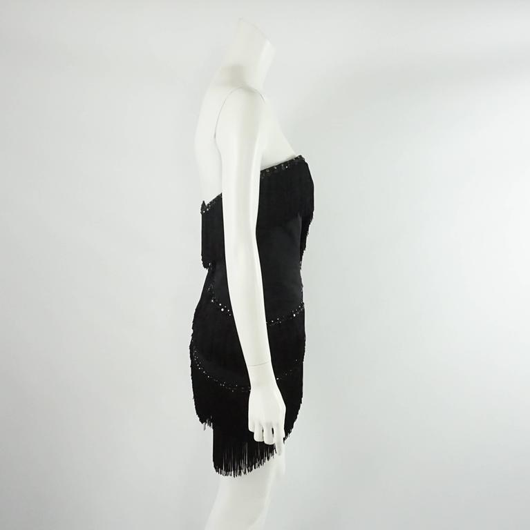 Bob Mackie Black Strapless Fringe Dress with Rhinestones - M - 1980's  2