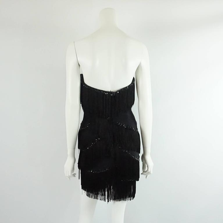 Bob Mackie Black Strapless Fringe Dress with Rhinestones - M - 1980's  3