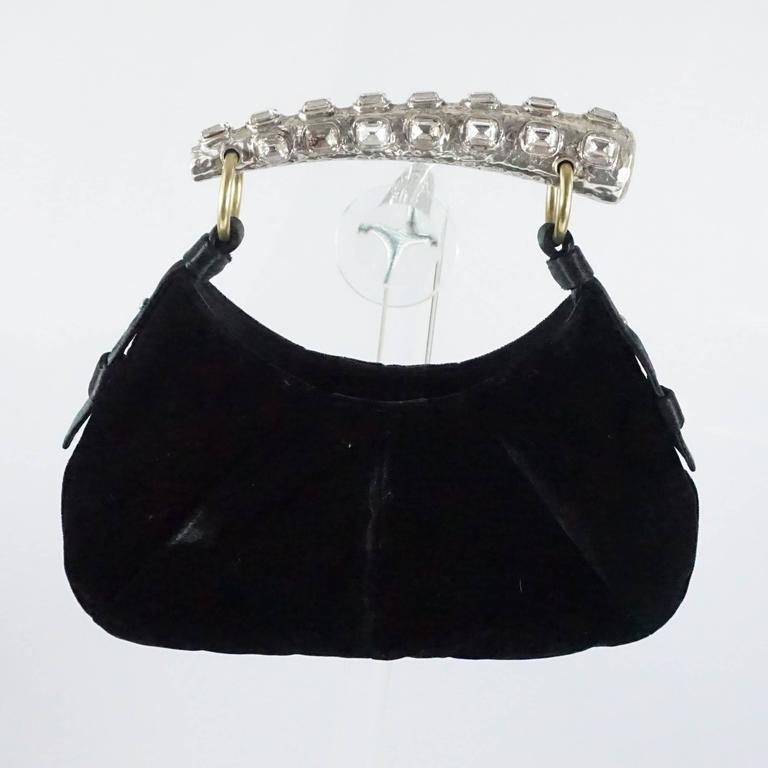 Tom Ford For Ysl Black Velvet Mombasa Bag With Rhinestone