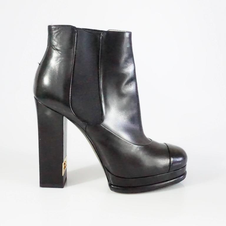 Chanel Black Leather Platform Ankle Boots - 37.5 2