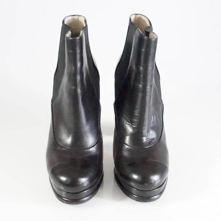 Chanel Black Leather Platform Ankle Boots - 37.5 3