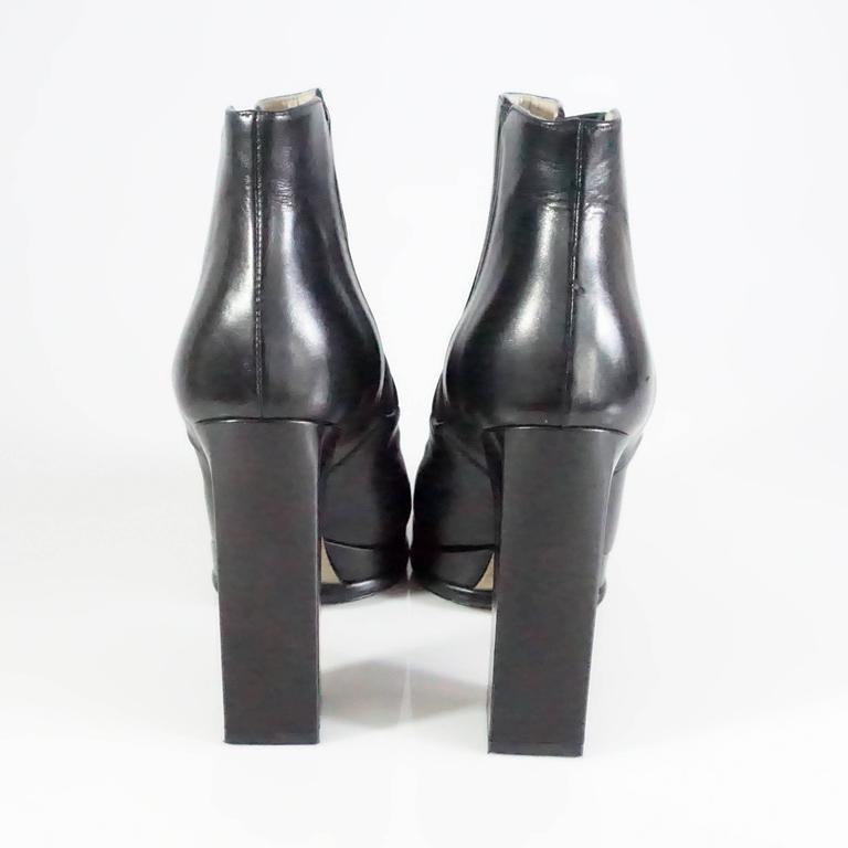 Chanel Black Leather Platform Ankle Boots - 37.5 4