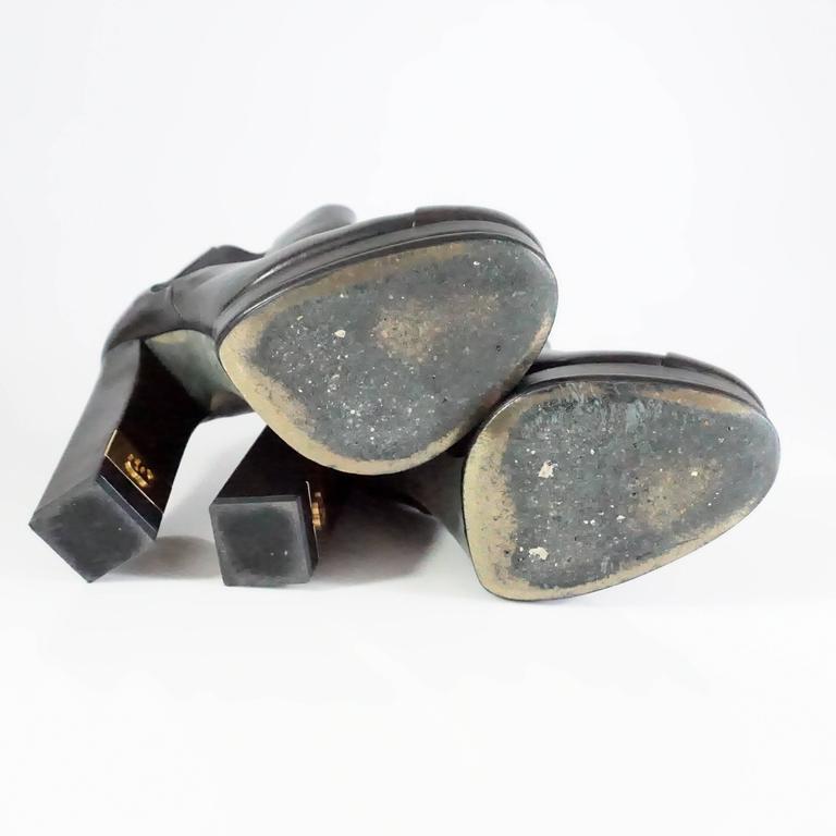 Chanel Black Leather Platform Ankle Boots - 37.5 5