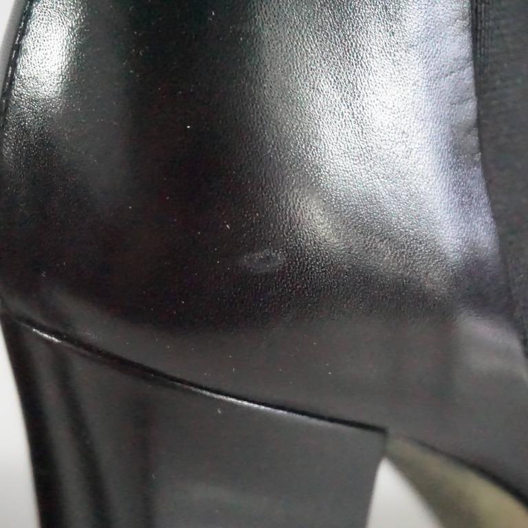 Chanel Black Leather Platform Ankle Boots - 37.5 8
