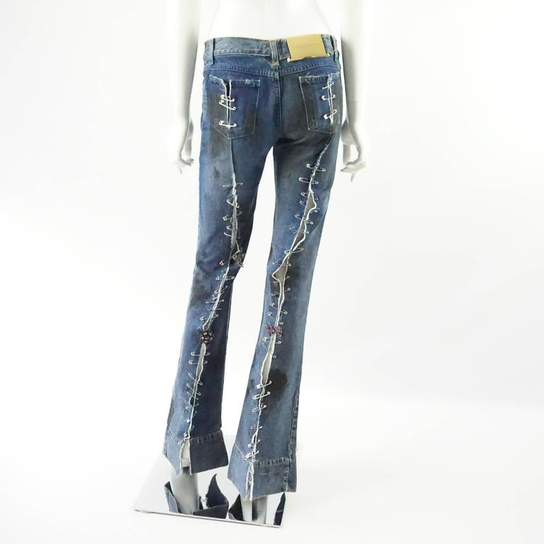 Gray Dolce & Gabbana Ripped Grunge Jeans with Rhinestone Brooches - S For Sale