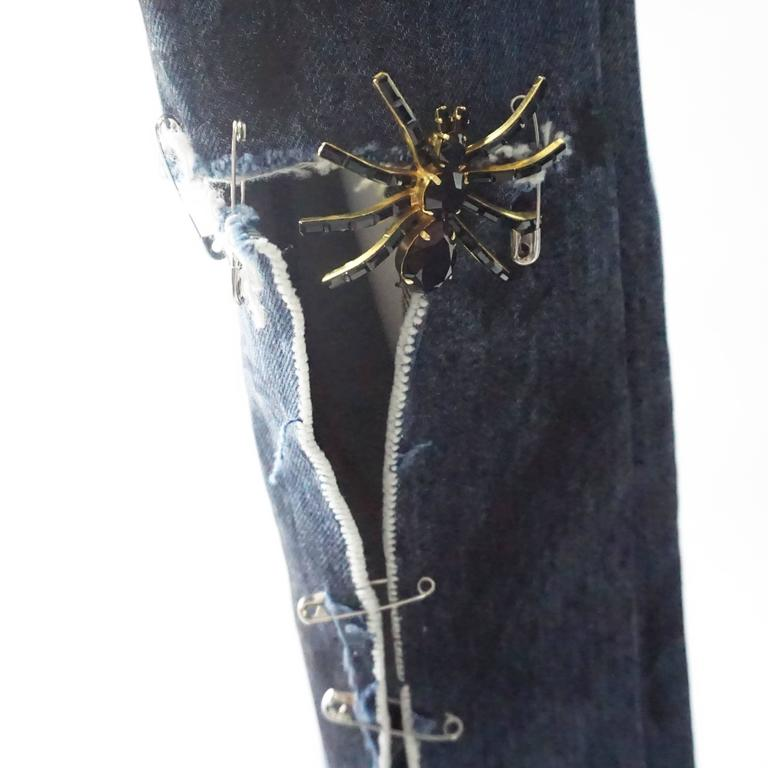 Dolce & Gabbana Ripped Grunge Jeans with Rhinestone Brooches - S For Sale 1
