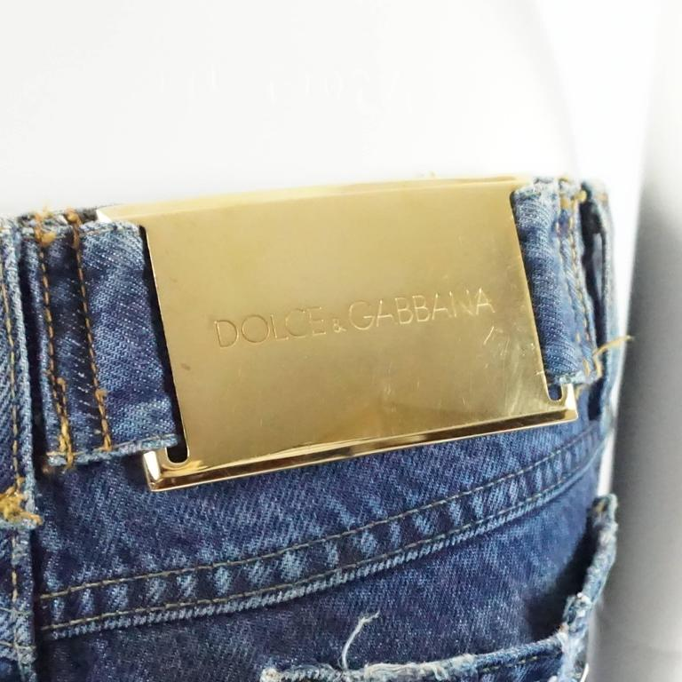 Dolce & Gabbana Ripped Grunge Jeans with Rhinestone Brooches - S For Sale 3