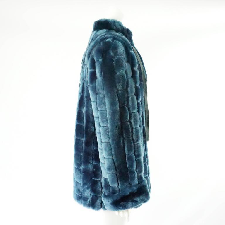 Black Christian Dior Vintage Blue Faux Fur Coat - L - 1990's  For Sale