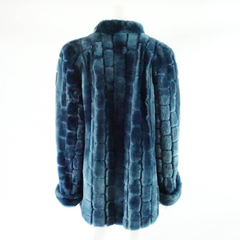 Christian Dior Vintage Blue Faux Fur Coat - L - 1990's  In Fair Condition For Sale In Palm Beach, FL
