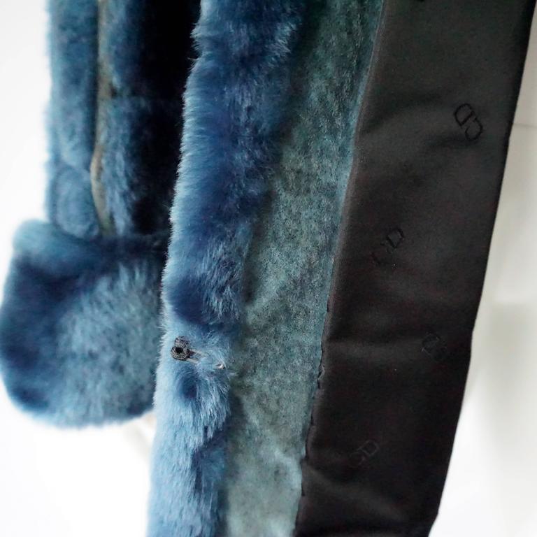 Christian Dior Vintage Blue Faux Fur Coat - L - 1990's  For Sale 2