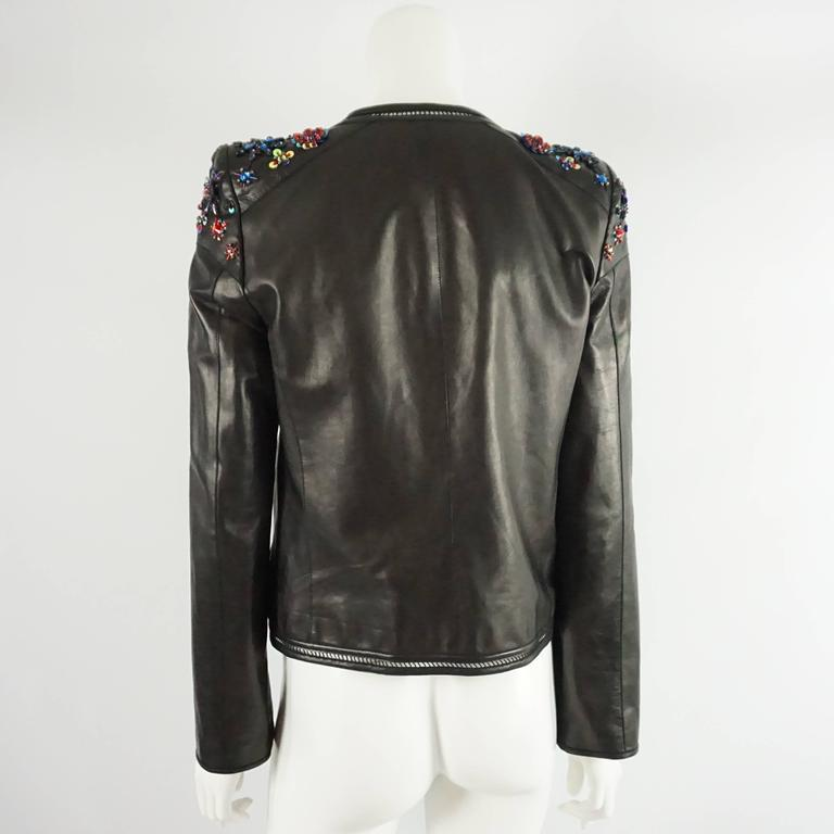 Roberto Cavalli Black Leather Jacket with Rhinestone and Sequin Detailing - 44 In Excellent Condition For Sale In Palm Beach, FL