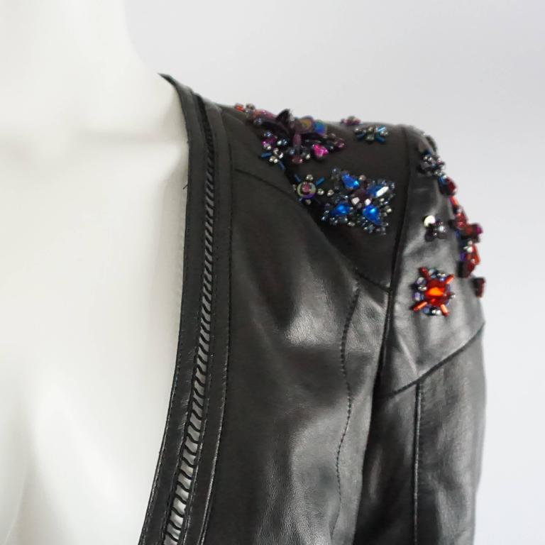 Women's Roberto Cavalli Black Leather Jacket with Rhinestone and Sequin Detailing - 44 For Sale