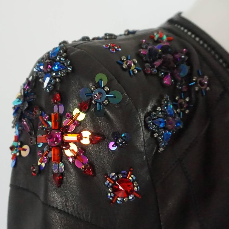 Roberto Cavalli Black Leather Jacket with Rhinestone and Sequin Detailing - 44 For Sale 1
