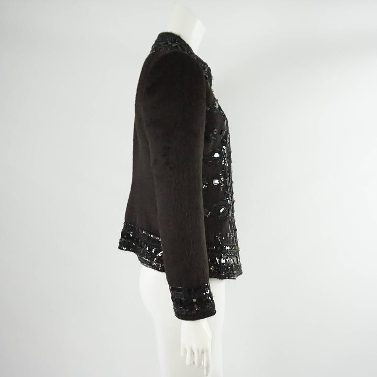 Oscar de la Renta Brown Wool Blend Jacket with Beading - 8 2
